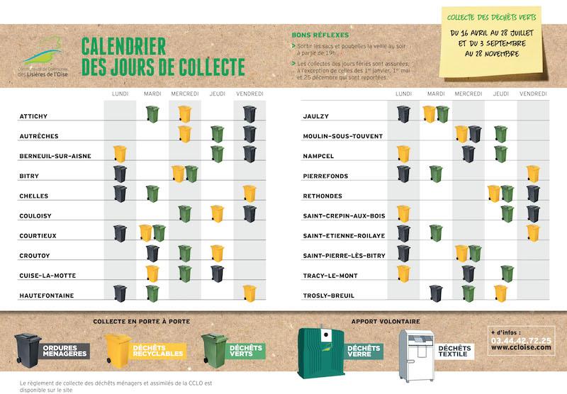 calendrier poubelles