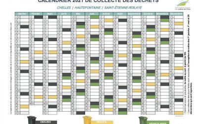 Calendrier 2021 de la collecte des déchets